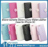 For iPhone 5C Leather Brand Case Wallet Style Diamond Flip Cover With Stand Function Credit Card Slot.