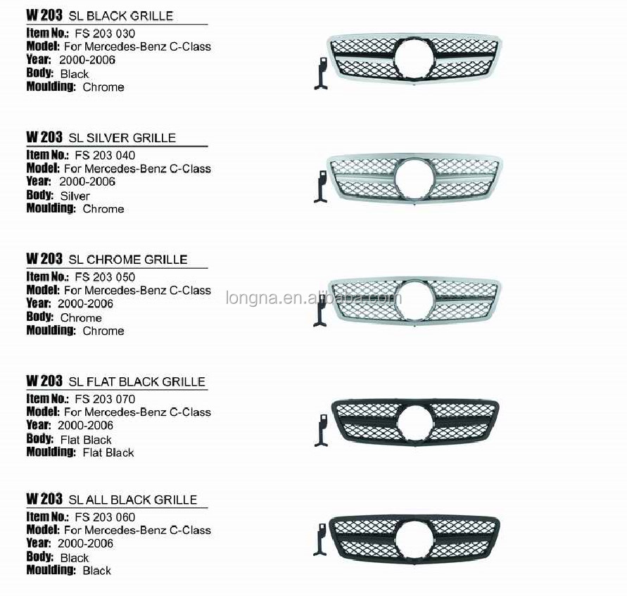 High Quality Auto Parts W203 SL Grille C-Class Front Grille 10 Types
