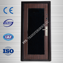 Latest MDF steel door glass inside security door skin design