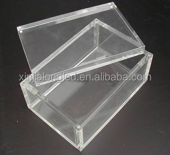 Mini clear acrylic storage box acrylic playing card box for Cajas de plastico transparente