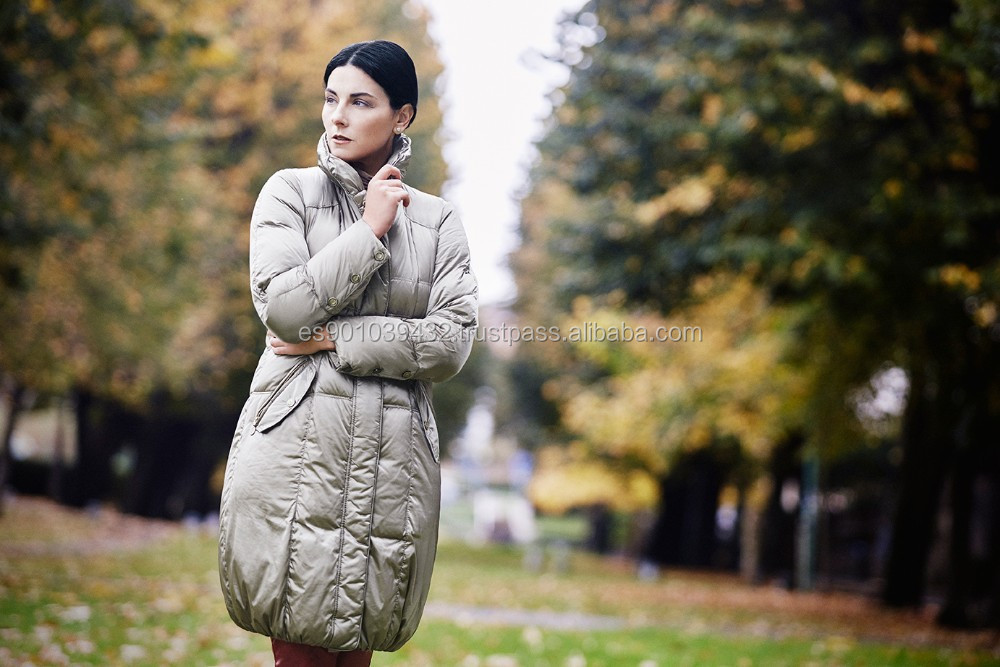 Woman winter down coat in brown and soft brown color with feather down filling style MILANO