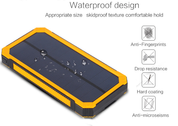 2016 wholesaler led flash rechargable outdoor waterproof 10000mAh solar power bank