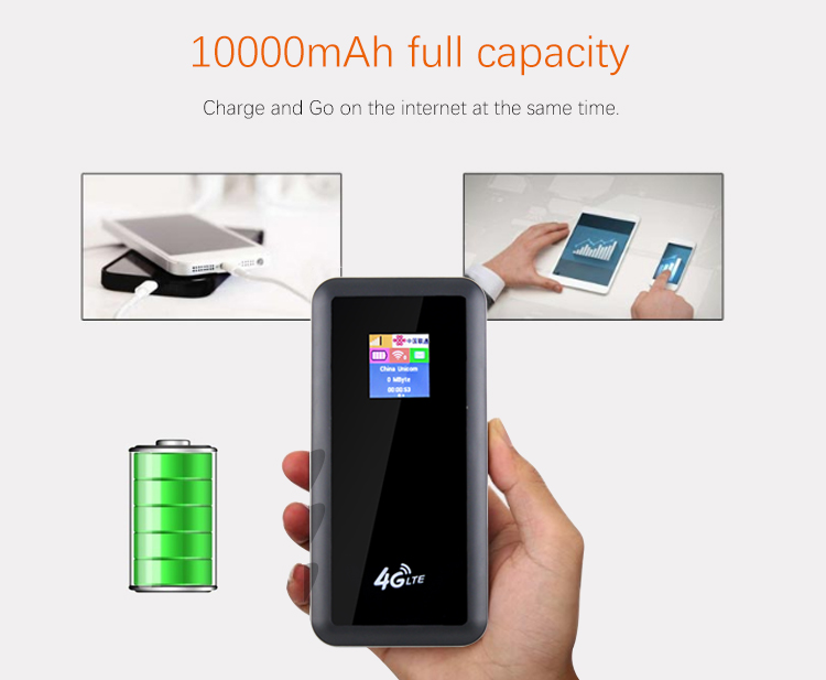 Newest 10000mAh power bank 4g lte wifi modem router band 700mhz band 28