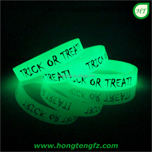 Fashion party favor silicon rubber wrist band/ glow in the dark silicone bracelets