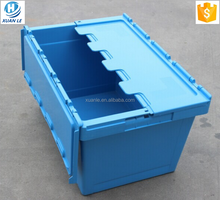 600*400*340mm stackable and nestable plastic storage containers with attached lid wholesale