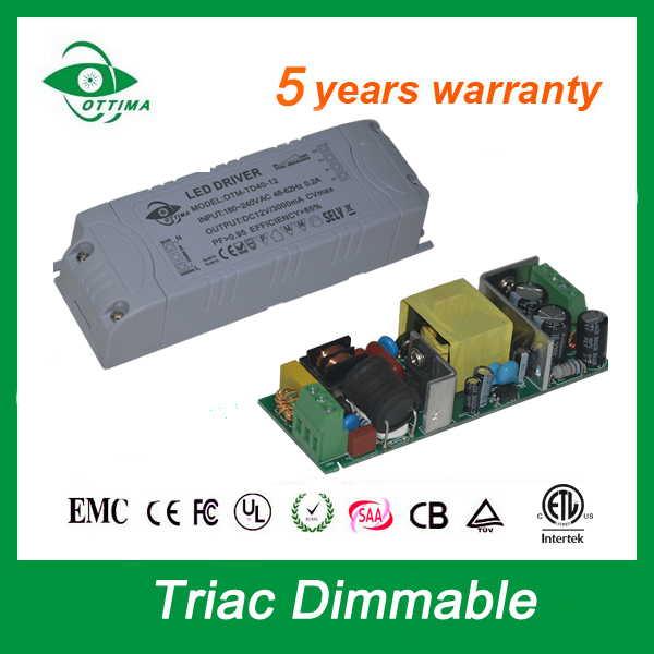 5 years warranty constant voltage 36w led power supply driver transformer dc 12v 3a