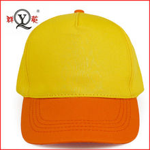 the yellow duck color 5 panel 3d printing short brim velcro backing baseball cap for childern