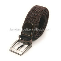 Unisex cotton canvas leather elastic belt for a belt buckle