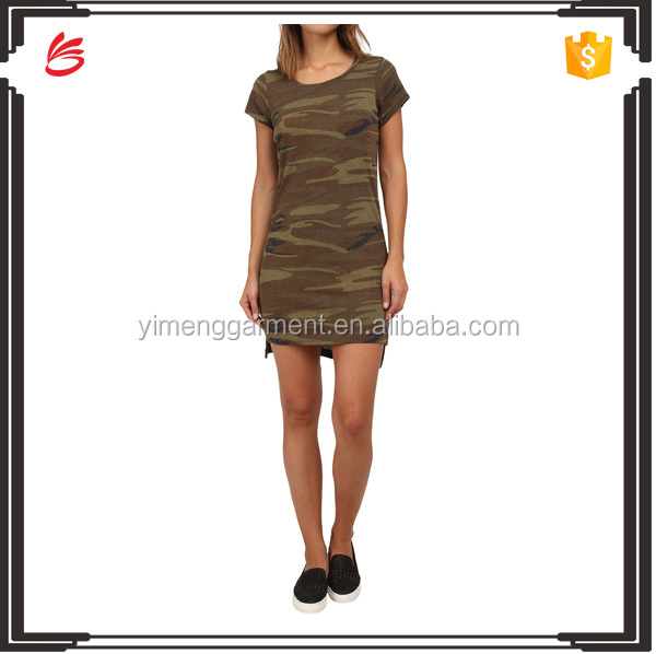 Hot sale casual camouflage t-shirt lady fashion dress