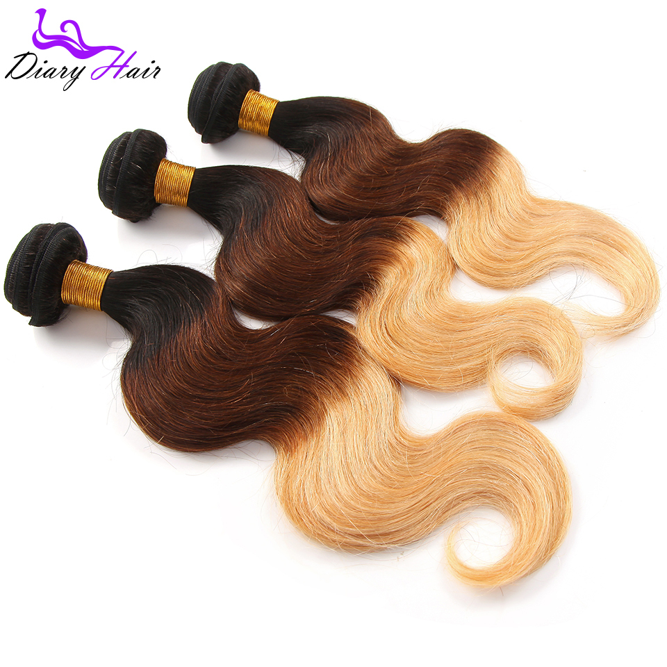 7A Grade Ombre human Hair body wave Three Tone #1b/33/27 Brazilian Virgin Hair weave 3 bundles Ombre hair extensions 300g T167