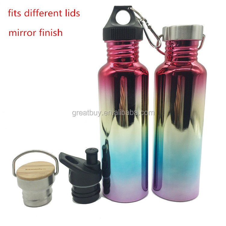 750ml different lids stainless steel sport bottle canteen wide mouth water bottle