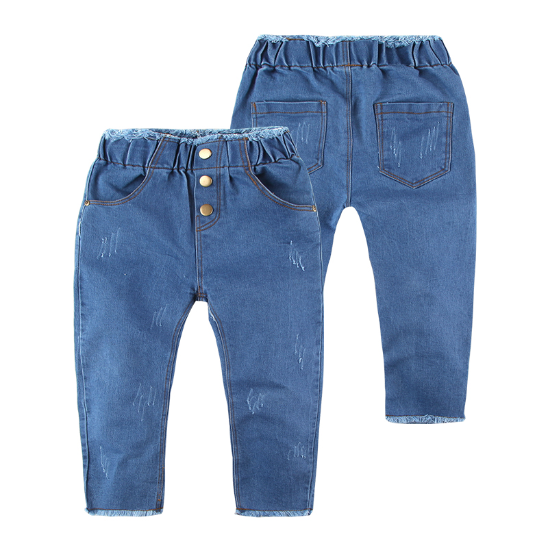 2-7 Years Baby Boys Solid Denim Pants Long Length Fashion Scratched Cotton Elastic Waist Brand Kids Boys Jeans 2015 New Arrival
