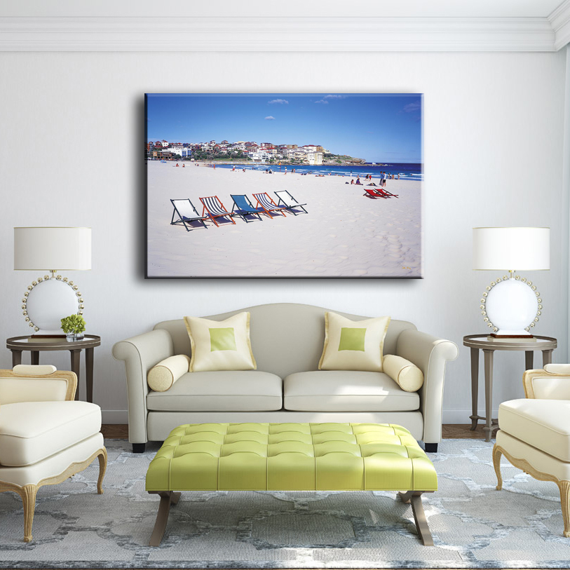 Hot sale beautiful sun loungers on beach modern scenery canvas art painting