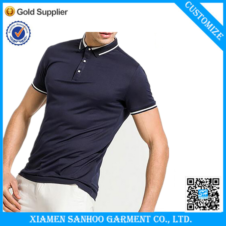 Navy Polo T-shirts Yellow Strip Cotton Polyester Soft Material Normal Fit