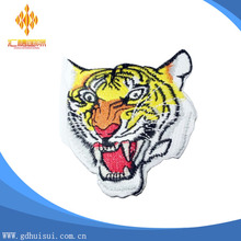 Best quality and cheap custom tiger logo embroidered patch with adhesive back