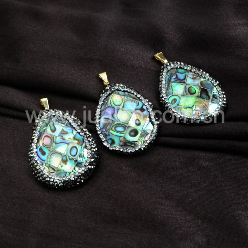 oval mexican abalone shell pendant beads tiny crystals jewelry design