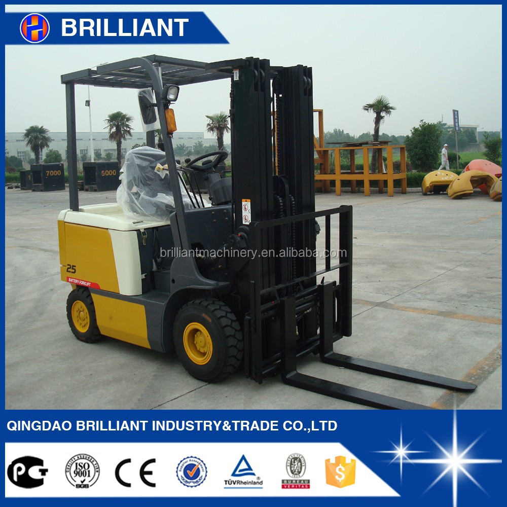 4 wheel 2.5 ton electric forklift with good quality and cheap price