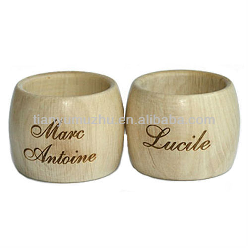 natural large napkin ring with letter printed
