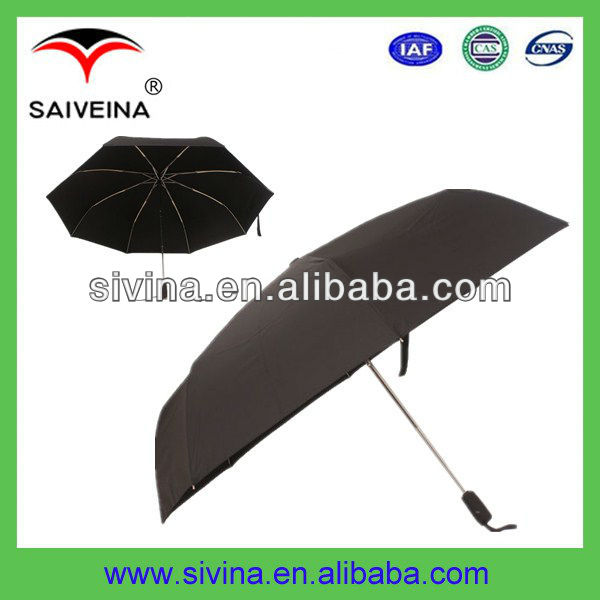 pongee fabric fibergalss and aluminium frame three folding parasol leisure umbrella