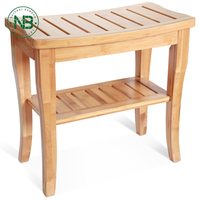Natural Bamboo Shoe Bench 2 Tier