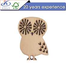 XL342 Polywood decoration laser cut wooden craft owl shape diy wooden craft chip