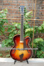 17inch sunburst color fully handmade and solid wood archtop jazz guitar
