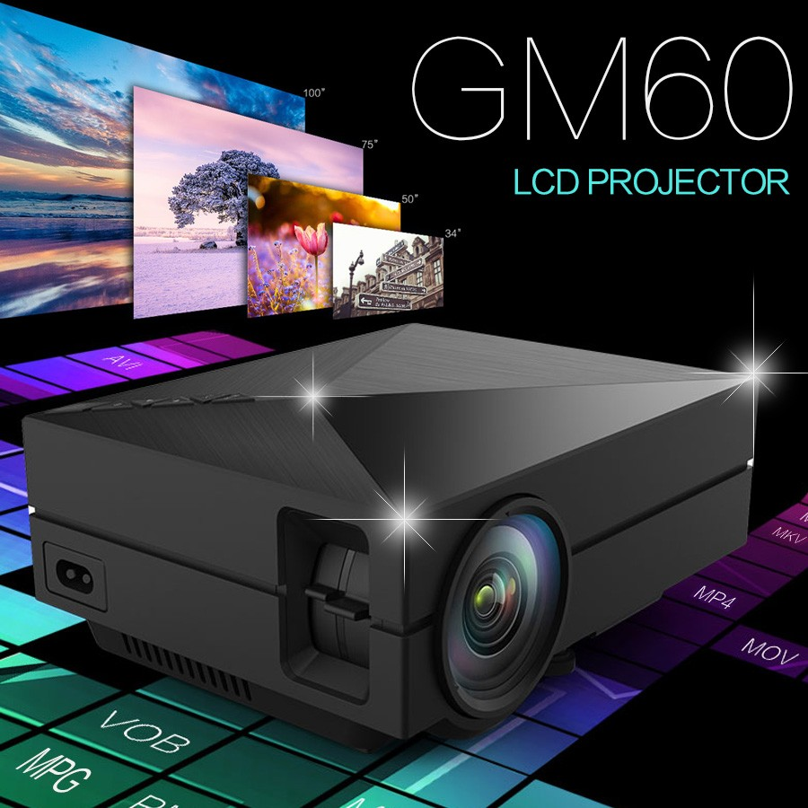 Original GM60 LCD Full HD 1000Lumens 800*480 Pixels 1920*1080 Support PC USB HDMI VGA AV SD HOME Theater <strong>Cheap</strong> Mini Projector