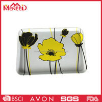 Contemporary luxurious square flower print plastic portable kitchen crockery dinner trays
