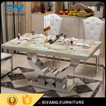 2017 round glass kitchen table with high quality stainless steel legs for sale CT001