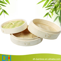 Handmade Eco-friendly bamboo steamers set for sale, Round wooden Food Steamer wood cookware for kitchen