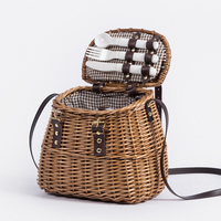 Mini small willow wicker rattan cane picnic basket with long handle