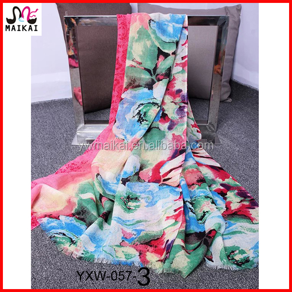Fashionable floral printing wool liverpool scarf