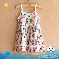 2016 summer cool breathable flower polka dot short little girls cotton frocks designs simple baby dresses hand knitted of 2-7Y