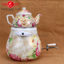 Good price pear shape home multi full decal enamel kettle / turkish double tea pot set