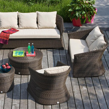 Half moon shaped tropical style garden line rattan sofa and round table patio surplus outdoor furniture