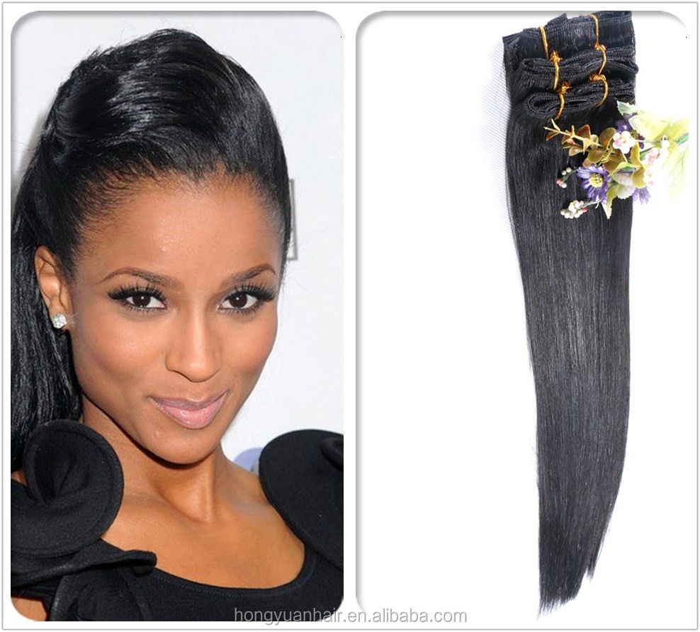 Unprocessed 100% Brazilian Hair Clip-on Hair Extension