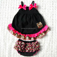 Cute baby fall boutique girl clothing outfits childrens tops ruffle cotton swing outfits ruffle raglan baby clothes sets
