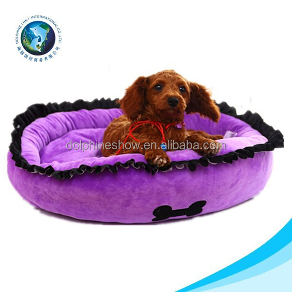 Cute purple flower shape home for dogs stuffed winter plush dog bed