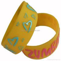 Silicone Bracelets Fashion ,Embossed/Debossed/ Printed Logo Silicone Loop Wristband, Glow In Dark Silicone Loom Bracel