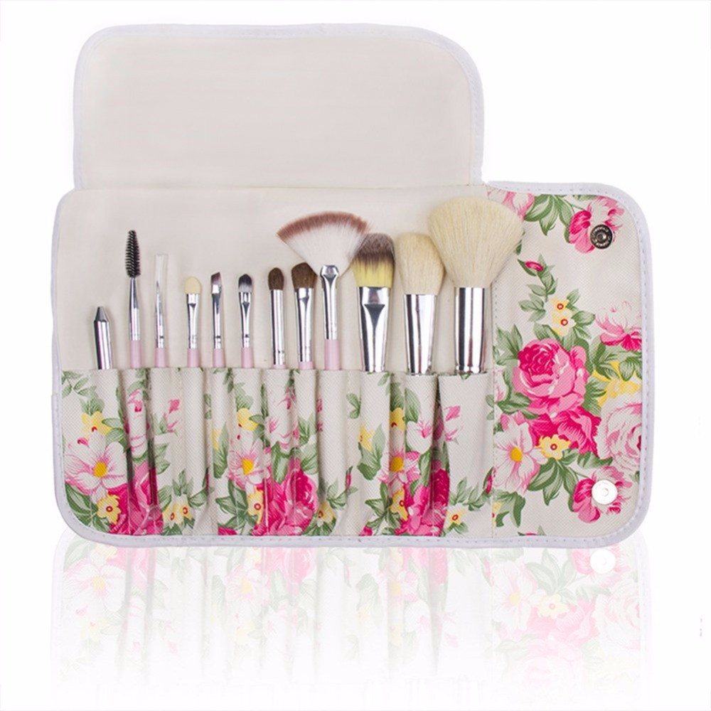 12pcs cute girly pink goat hair makeup brush set eyeshadow/eyeliner/crease/blending makeup brushes