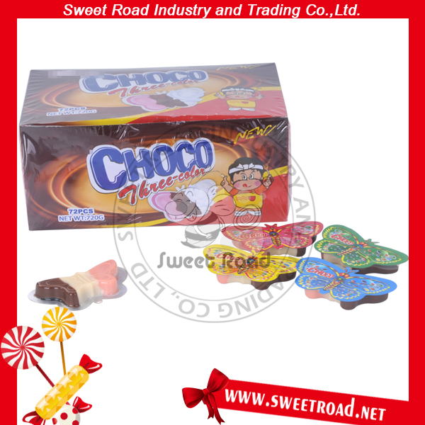 Butterfly Shaped Three Color Cheap Chocolate Candy