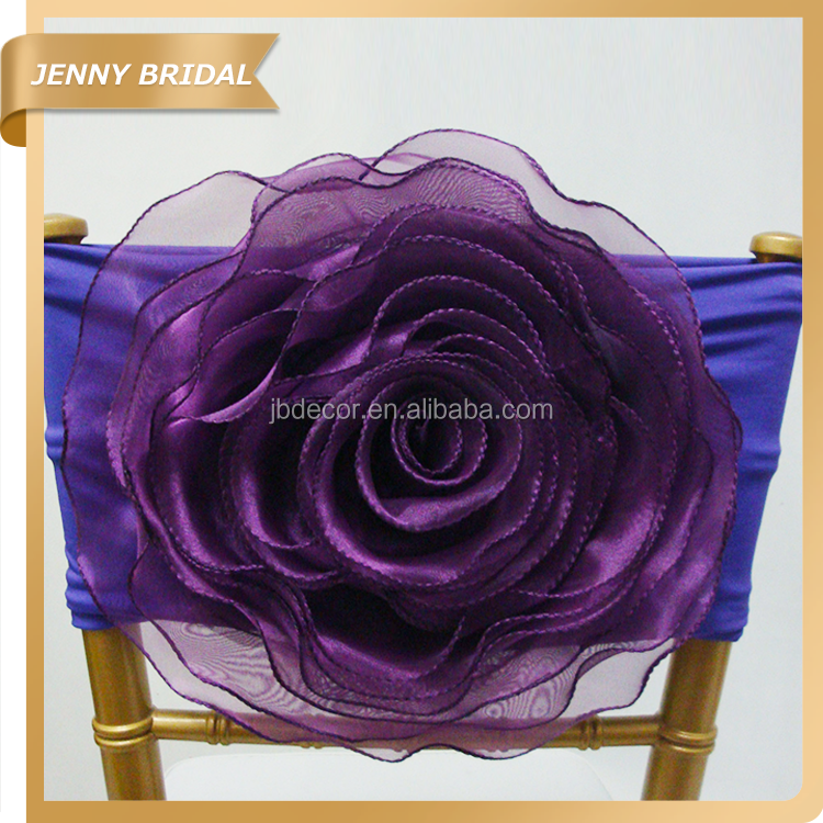 FL025 fancy High quality elastic dark purple organza flower chair sashes chair covers for sale
