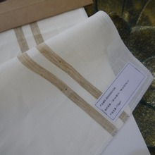 Gold and white stripe 100% Linen fabric for table and curtains