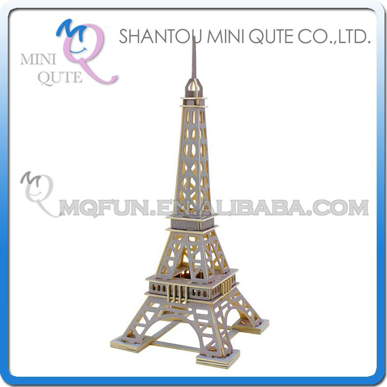 Mini Qute 3D Wooden Puzzle Eiffel Tower world architecture famous building Adult kids model educational toy gift NO.JZ501