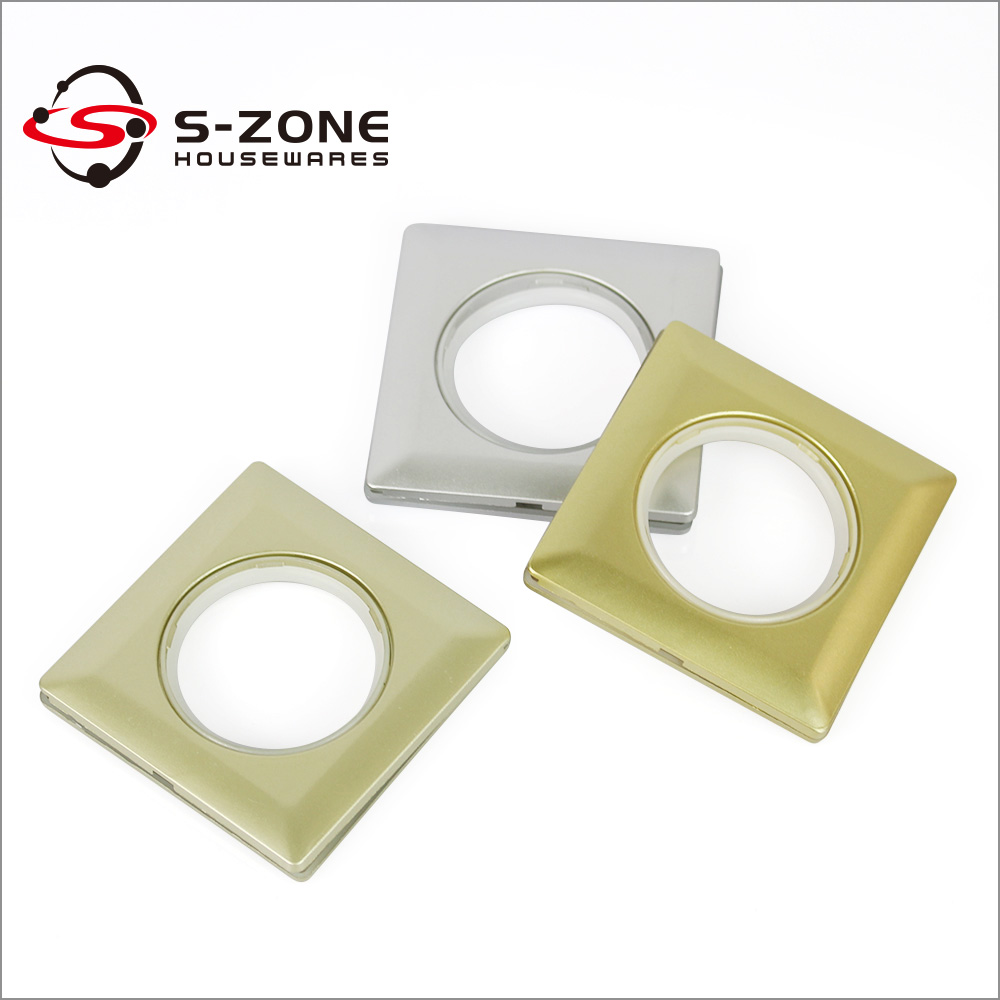 silver and golden color spray paint square type curtain rings