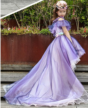 Purple hand decals short front long back flower girl dress