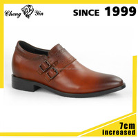 Environmental dark brown Genuine leather material 7cm hidden height increasing elevator shoes for men