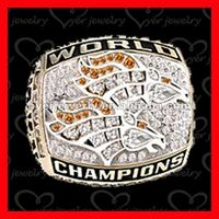 Broncos championship ring with hand set stones and one piece style