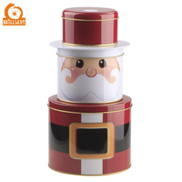 Santa claus father christmas metal tin box set for decorative gifts