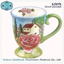 Daily Used Hand Painted Rose Ceramic Cold Drink Juice Reusable Cup